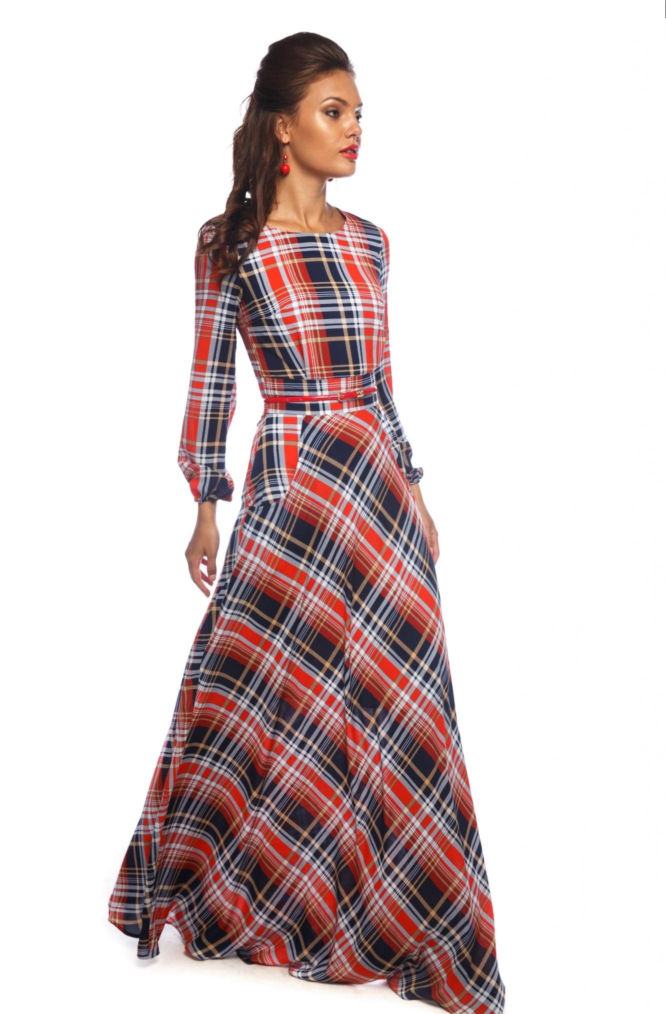Платья в пол с рукавом в клетку