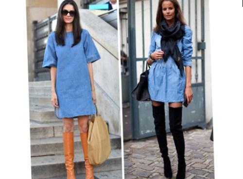 С чем носить джинсовое платье с рукавами