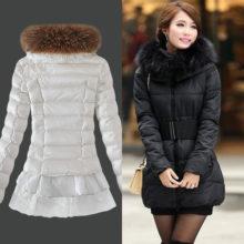 Модный и стильный осенне зимний пуховик-платье с пышной юбкой  2017 год