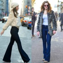 Женские модные джинсы клеш на сезон 2017 год –  фото образов