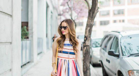 Красивое  и стильное платье в полоску фото обзор — Тренд  новинки 2017 года