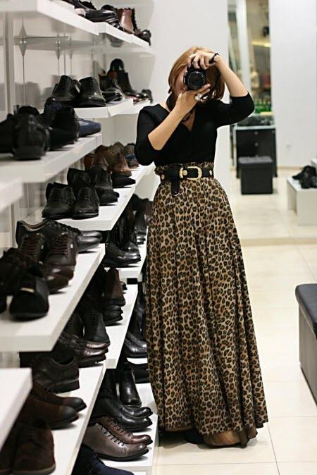 леопардовая юбка в пол1