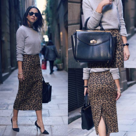 леопардовая юбка в пол9