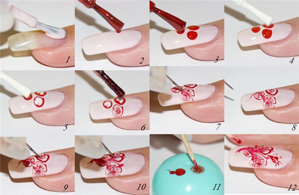 Рисунки на ногтях для начинающих пошаговое на ногах