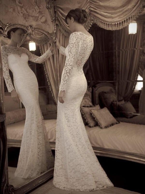 свадебное платье прямое кружевное