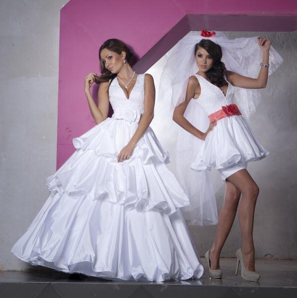 свадебное платье трансформер с отстегивающейся юбкой фото
