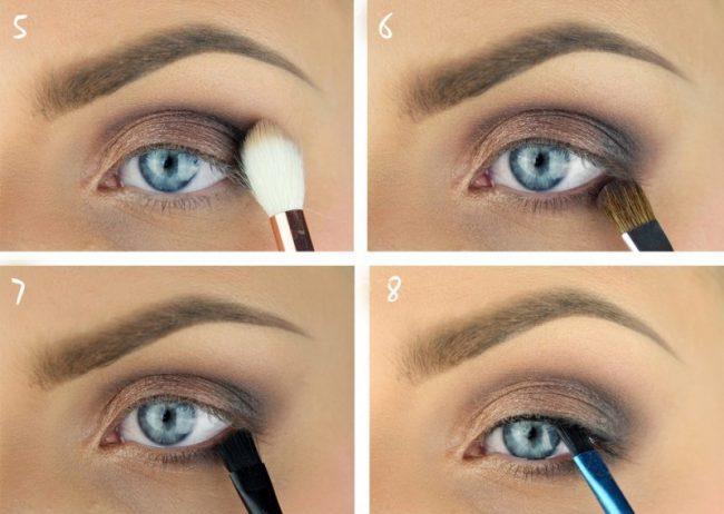 Макияж для голубых глаз с нависшими веками