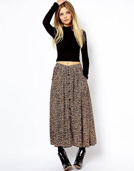 леопардовая юбка в пол6